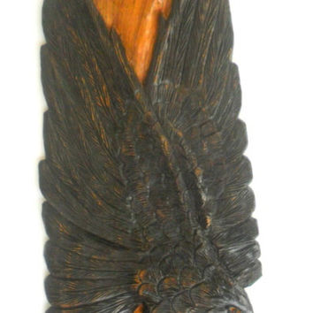 "Natural Teak Wood Carving Of Eagle Catch A Fish Handmade Art Home Decor Wall Hanging Hand Carved Gift 21""x12"""