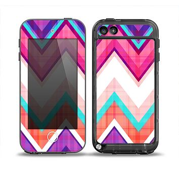 The Vibrant Teal & Colored Chevron Pattern V1 Skin for the iPod Touch 5th Generation frē LifeProof Case