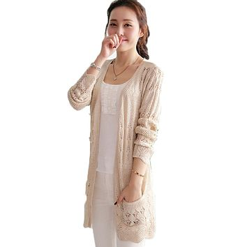 Ladies Crochet Tops Fashion Women Beach Cardigan Spring Summer Hollow Out Knitted Sweaters  Size Rebecas Mujer