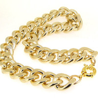 "Newest Shiny Cut LIGHT GOLD Plated Chunky Aluminium Curb Chain Necklace 18"" 38"""