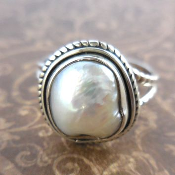 Baroque Pearl .925 Sterling Silver Ring – Size 8