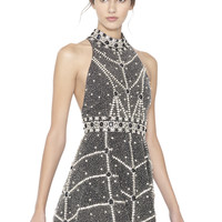 Hollie High Neck Embellished Short Flare Gown | Alice + Olivia