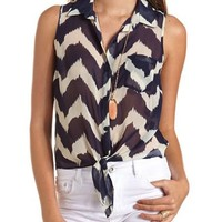 Printed Button-Down Tie-Front Top: Charlotte Russe