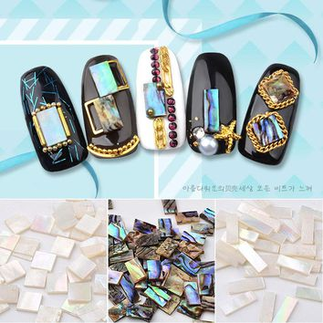 1 Box Natural SeaShell Slices Crushed Shell Stones 3d Nail Art Decoration Gradient Marble Pattern Flakes Manicure Accessories