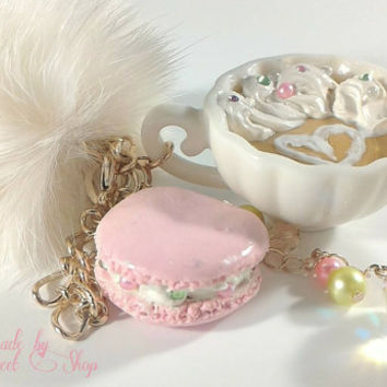 Macaron and Milk Tea Cute Bag or Purse Charm, Sweet Lolita Kei or Hime Lolita Fashion, Kawall Polymer Clay Charms, Decoden, Valentines Gift