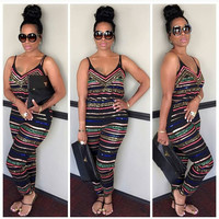 Black Tribal Striped V-Neck Sleeveless Jumpsuit