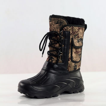 New Hot Sale Size 41-46 Outdoor Camo Hunting Boots Camouflage Front Lacing Waterproof Snow Boots Fishing Shoes