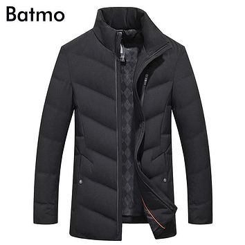 Batmo 2017 new arrival winter high quality 90% white duck down casual black jacket men,winter men's coat plus-size ,8916