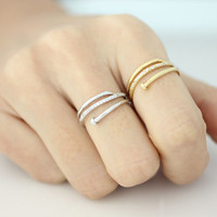 Nail ring with cubic setting - available color as listed( Gold, Silver )
