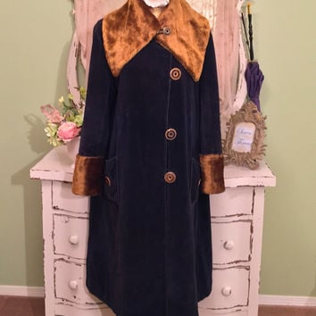 1920s 30s Art Deco Coat, Flapper Cocoon, Downton Abbey, Velvet Deco Coat, Faux Fur Collar Coat, Vintage Antique Coat, Navy Blue Coat, Sz M