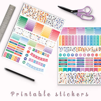 50% OFF Erin Condren Colorful Triangles Planner Stickers Printable Stickers Filofax Box Stickers Page Flags Weekend Banners To Do Stickers