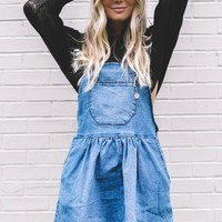 Doing Fine Denim Overall Mini Dress