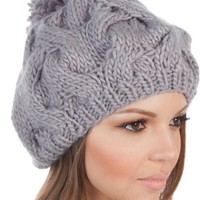 Sakkas 3031NB Cable Knit Pom Pom Thick Slouch Hat - Gray - One Size