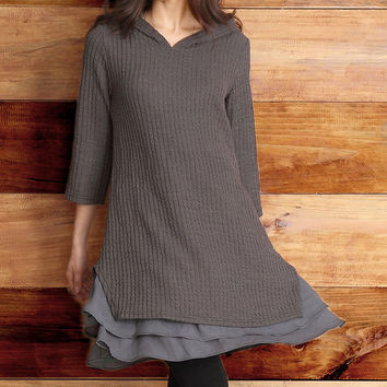 Reborn Collection Charcoal Ribbed-Knit Hooded Ruffle-Hem Tunic - Women | zulily