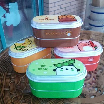 ICIK272 High Quality Cartoon Healthy Plastic Lunch Box 600ml Bento Boxes Food Container Dinnerware Lunchbox Cutlery with Chopsticks