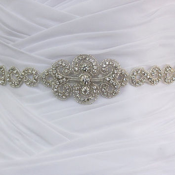 ANNABELLA - Vintage Inspired Infinity Design Wedding Crystal Belt, Rhinestone Bridal Beaded Sash, Bridal Crystal Belts