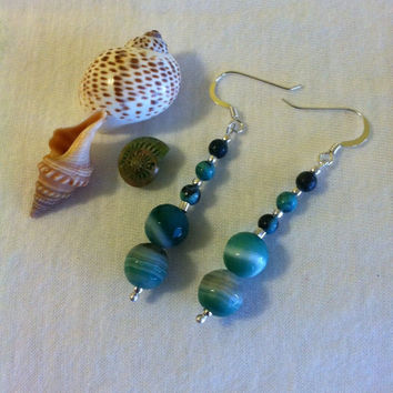 Green Agate Drop Earrings Handmade Round Striated Striped Beaded Dangle Earrings Modern Minimalist Jewelry Shades of Green Jewellery