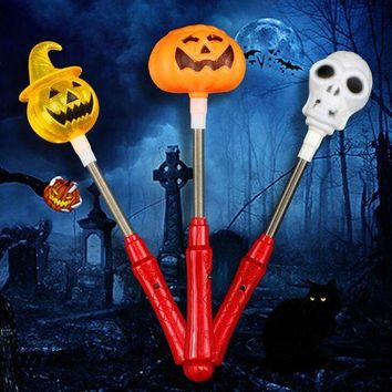 LMFON 1pc Creative Halloween Shaker Toy with LED Light Pumpkin Ghost Plastic Glow Stick Halloween Costume Glow Party Supplies Decor