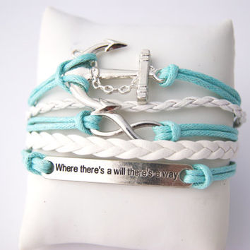 5 Strand Turquoise Mint Green Infinity Anchor Faux Leather Braid Cord Bracelet (Adjustable Sizing)