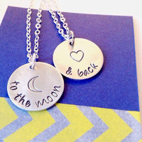 To The Moon and Back Hand Stamped Bar Necklace Set, Mother and Daughter Necklace Set
