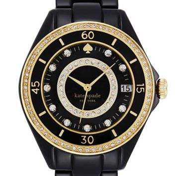 Women's kate spade new york 'seaport grand' crystal enamel bracelet watch, 38mm