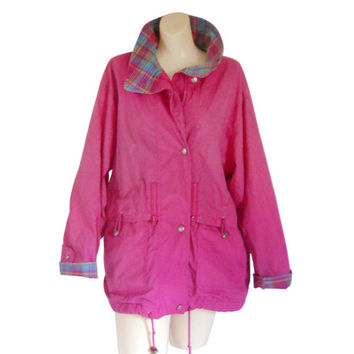 Women Spring Jacket Hot Pink Jacket 80s Jacket Retro Jacket Light Jacket Lightweight Jacket Ladies Jacket Vintage 80s Spring Jacket