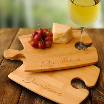 Personalize a Bamboo Puzzle Cutting Board Set