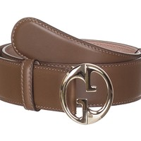 Gucci Women's Brown Leather Interlocking GG Buckle Belt