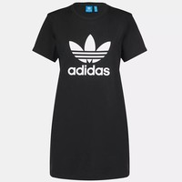 """Adidas"" Trending Women Leisure Clover Print Round Neck Short Sleeve Dress Black I-KWKWM"