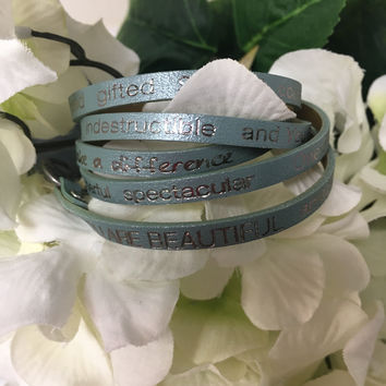 """""""You Are Beautiful..."""" Wrap Around Good Works Bracelet in Mint"""