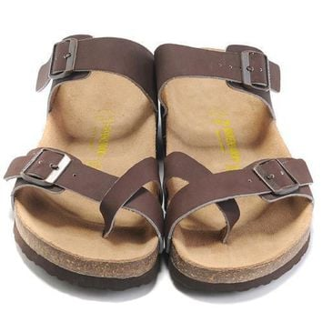 Birkenstock Leather Cork Flats Shoes Women Men Casual Sandals Shoes Soft Footbed Slippers-153