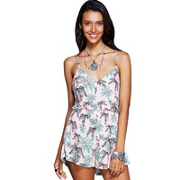 Stylish Strappy Print Cross Back Romper For Women