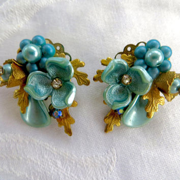 Vintage 1950s Clip Earrings, Aquamarine Lucite Flowers, Rhinestone Centers, Pearl Cluster Climber Earrings Mad Men Statement Earrings