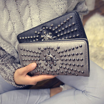 Stylish Skull Bags Winter Strong Character Fashion Rivet Wallet Diamonds Purse [6048276673]