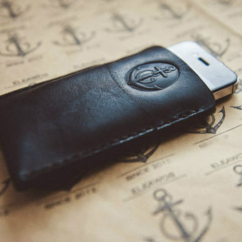 Leather phone cover.  Handmade Genuine  Leather iphone 4, 4s, 5, 5s, 6 cover case / Handcrafted / Hand stitched