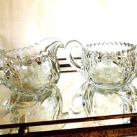 Vintage American Brilliant Cut etched Glass Cream and Sugar bowl set, floral and leaf