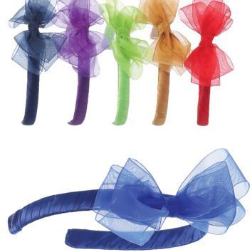Organza Bow Headpiece on a Satin Wrapped Headband in 21 Color Choices (Girls)