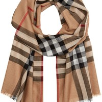 Burberry Check Wool Silk Scarf 220 X 70cm-variation
