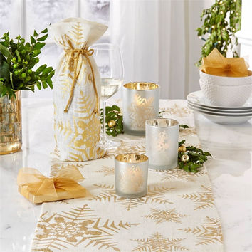 Shimmering Snowflake Gold Jute Table Runner - 84-in x 14-in