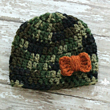 Baby Girls Camo Beanie with Orange Bow - Camouflage Hospital Cap - Baby Shower Gifts -  Newborn - Coming Home - Hunting - Daddy's Girl