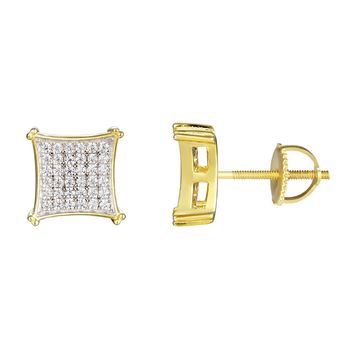 14k Gold Finish Designer Kite Silver Stud Earrings