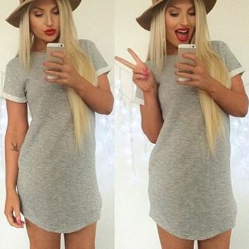 Round Neck Solid Color Short Sleeve Mini Dress