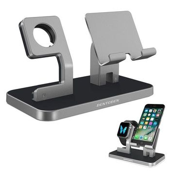 VONL8T Apple Watch Stand, Cell Phone Stand, iPhone 6 7 8 X Stand, BENTOBEN NightStand Mode iWatch Stand iPhone Dock iPad Mini Charging Station for iWatch Series 3 Series 2 Series 1 38mm 42mm - Space Gray