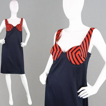 Vintage 90s LOUIS FERAUD Party Dress Sexy Plunging Neckline Wiggle Dress Boned Dress Futuristic Dress French Designer Club Kid Dress 1990s