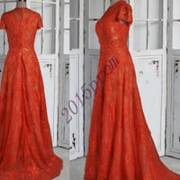Vintage Court Style Red Short Sleeves Lace Prom Dresses,Custom Lace Evening Dresses,Formal Party Grown ,Homecoming Dresses