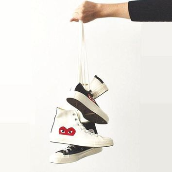 LMFUG7 Converse Play Fashion Loving Heart Reflective Sneakers High Top With Low Top Sport Sho