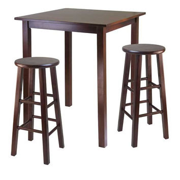 "Parkland 3 Piece High Table with 29"" Square Leg Stools Walnut"