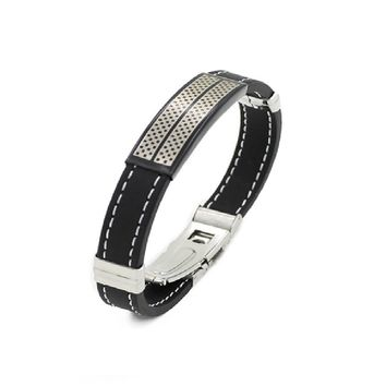 Men's Black Silver Stainless Steel Cuff Rubber Wristband