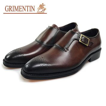 Handmade Genuine Men Leather Shoes Brown Vintage Business Male Dress Shoes For Men