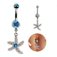 New Charming Dangle Crystal Navel Belly Ring Bling Barbell Button Ring Piercing Body Jewelry = 4672685956